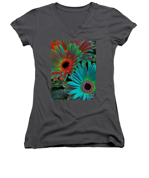 Daisies From Another Dimension Women's V-Neck T-Shirt (Junior Cut) by Rory Sagner