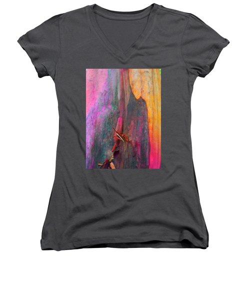 Women's V-Neck T-Shirt (Junior Cut) featuring the digital art Dance For The Earth by Richard Laeton