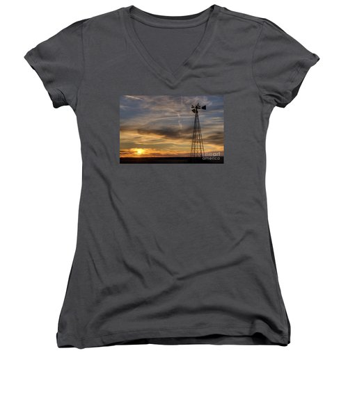Women's V-Neck T-Shirt (Junior Cut) featuring the photograph Dark Sunset With Windmill by Art Whitton