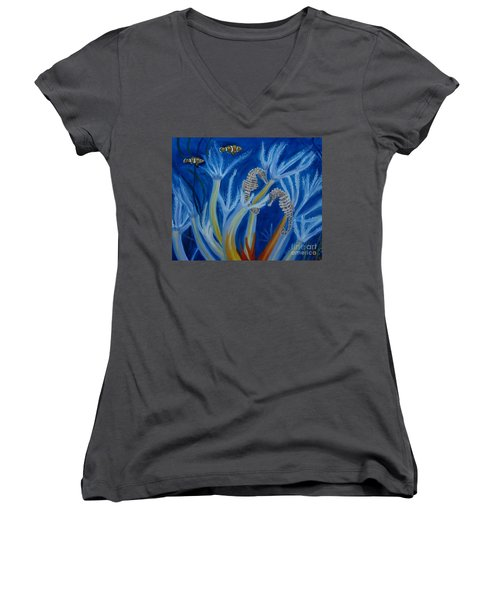 Women's V-Neck T-Shirt (Junior Cut) featuring the painting Date Night On The Reef by Julie Brugh Riffey