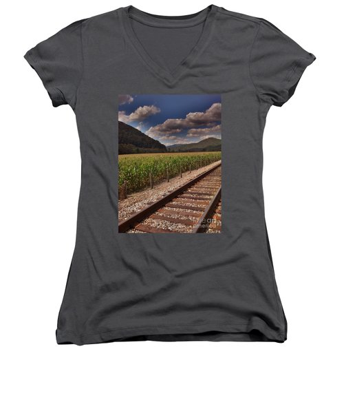 Women's V-Neck T-Shirt (Junior Cut) featuring the photograph Del Rio Tennessee by Janice Spivey