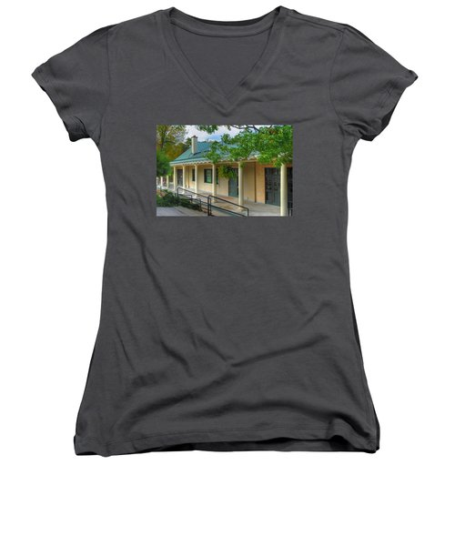 Women's V-Neck T-Shirt (Junior Cut) featuring the photograph Delaware Park Casino by Michael Frank Jr