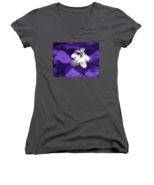 Delphinium Named Blue With White Bee Women's V-Neck T-Shirt (Junior Cut) by J McCombie