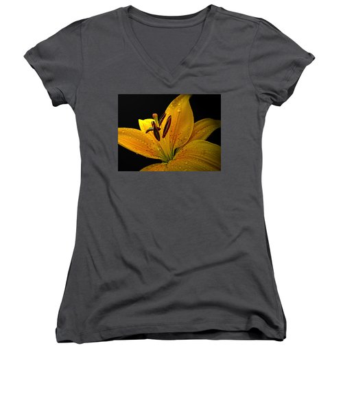 Women's V-Neck T-Shirt (Junior Cut) featuring the photograph Dew On The Daylily by Debbie Portwood