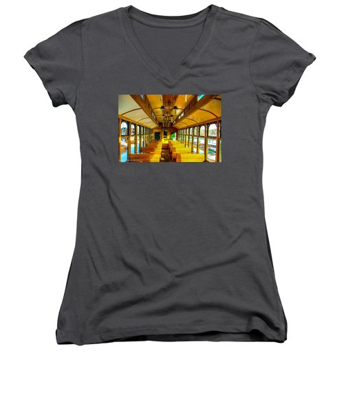 Women's V-Neck T-Shirt (Junior Cut) featuring the photograph Dining Car by Shannon Harrington