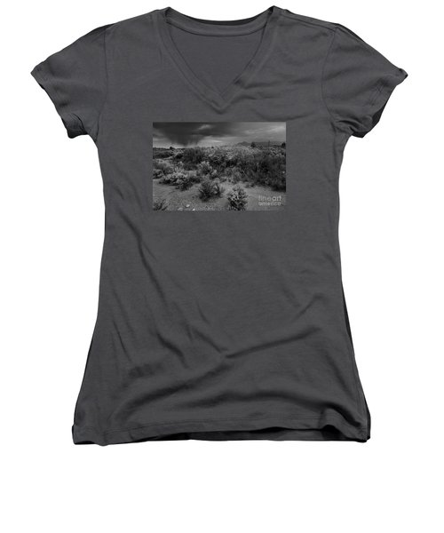Women's V-Neck featuring the photograph Distant Shower by Ron Cline