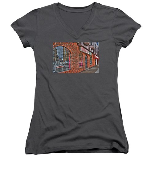 Women's V-Neck T-Shirt (Junior Cut) featuring the photograph Dough Bois Pizza by Michael Frank Jr