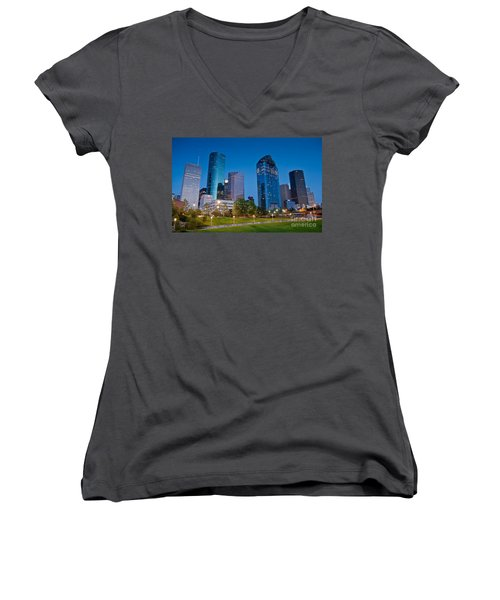 Downtown Houston Women's V-Neck (Athletic Fit)