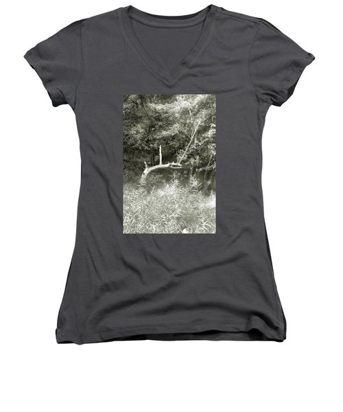 Women's V-Neck T-Shirt (Junior Cut) featuring the photograph Dragon Bones by Mary Almond
