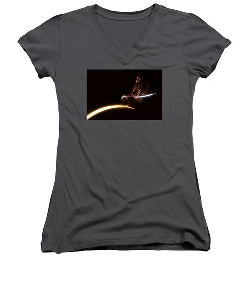 Women's V-Neck T-Shirt (Junior Cut) featuring the digital art Dragonfly On Golden Blade by Lynne Jenkins