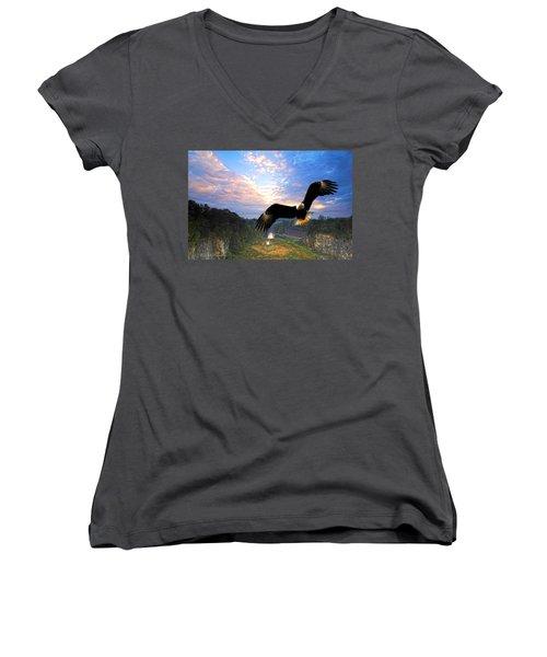 Women's V-Neck T-Shirt (Junior Cut) featuring the photograph Eagle At Paint Creek Dam by Randall Branham