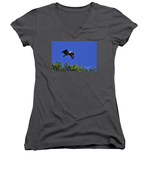 Women's V-Neck T-Shirt (Junior Cut) featuring the photograph Eagle Over The Tree Top by Randall Branham