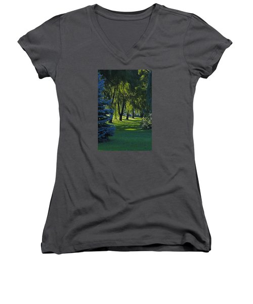 Women's V-Neck T-Shirt (Junior Cut) featuring the photograph Early Morning by John Stuart Webbstock