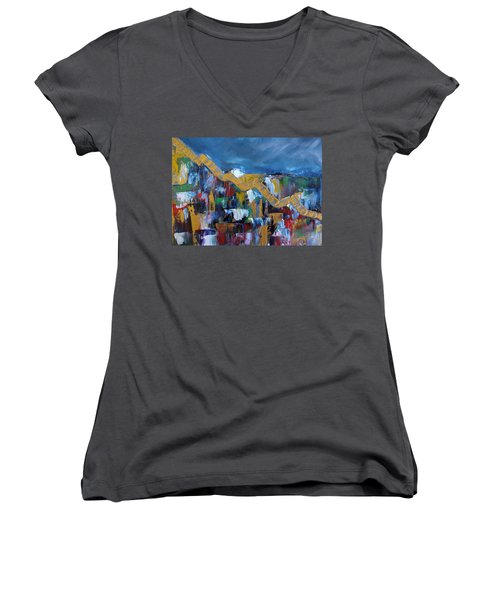 Economic Meltdown Women's V-Neck T-Shirt (Junior Cut) by Judith Rhue