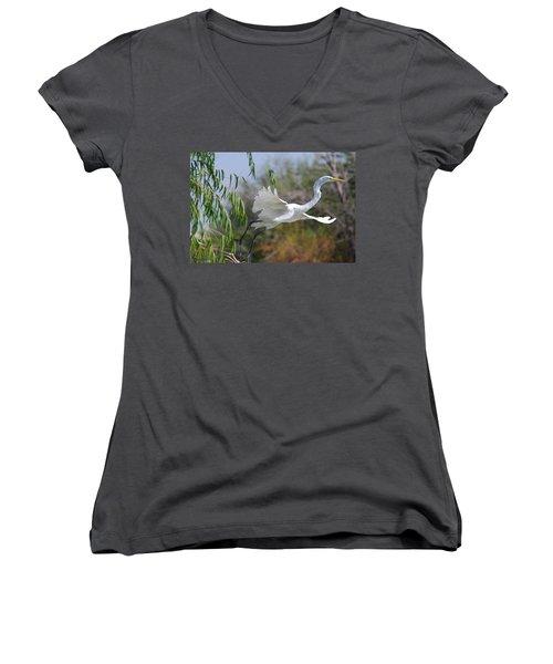 Women's V-Neck T-Shirt (Junior Cut) featuring the photograph Egret's Flight by Tam Ryan