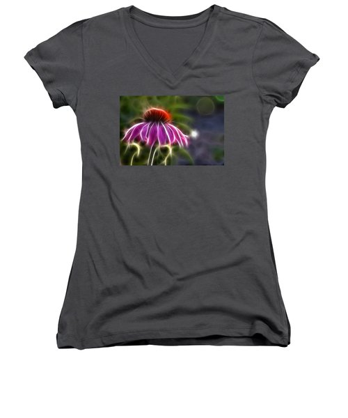 Women's V-Neck T-Shirt (Junior Cut) featuring the photograph Electrified Coneflower by Lynne Jenkins