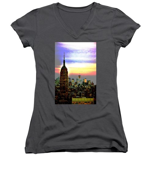 Empire State Building4 Women's V-Neck T-Shirt