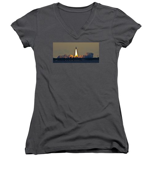 Endeavor Blast Off Women's V-Neck T-Shirt (Junior Cut) by Dorothy Cunningham