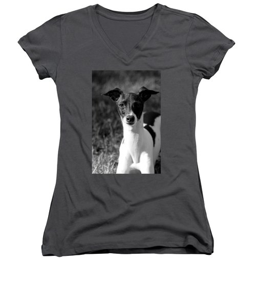 Ethan In Black And White Women's V-Neck