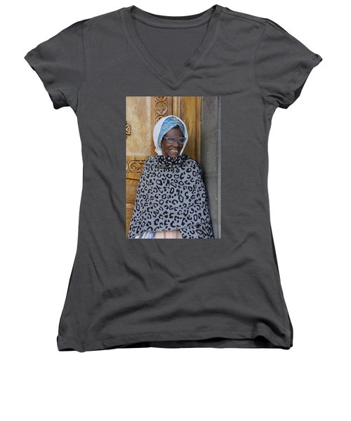 Ethiopia-south Orthodox Christian Woman Women's V-Neck (Athletic Fit)