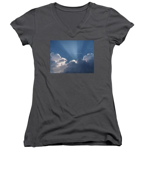 Even Through The Clouds You Will Find A Ray Of Sunshine Women's V-Neck T-Shirt