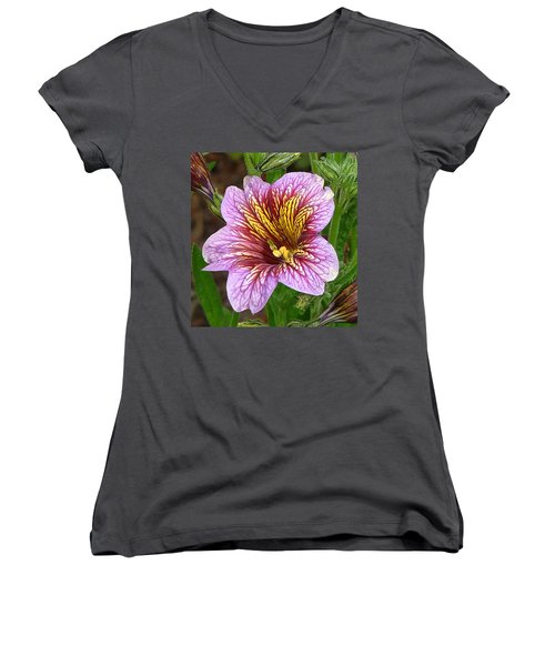 Women's V-Neck T-Shirt (Junior Cut) featuring the photograph Exploding Beauty by Wendy McKennon