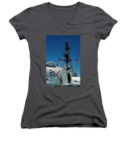 F4-phantom On The Deck Women's V-Neck T-Shirt