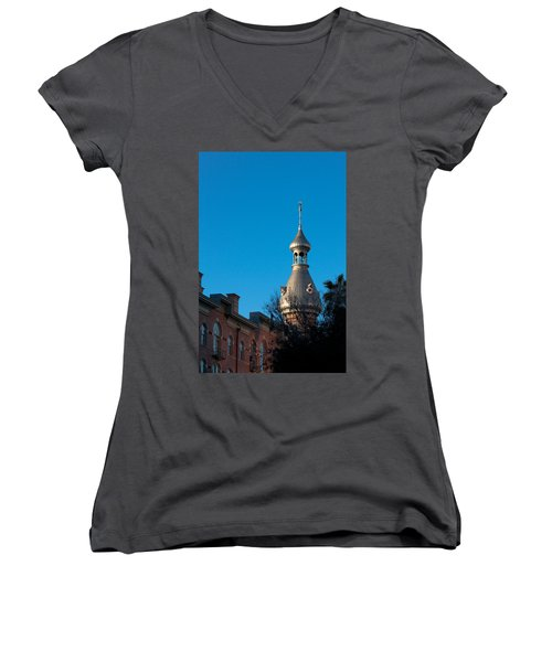 Women's V-Neck T-Shirt (Junior Cut) featuring the photograph Facade And Minaret by Ed Gleichman