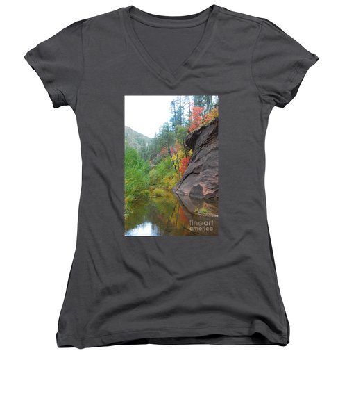 Fall Peeks From Behind The Rocks Women's V-Neck T-Shirt (Junior Cut) by Heather Kirk