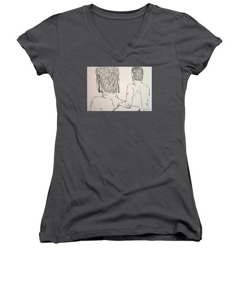 Female Nude Beside Herself Women's V-Neck T-Shirt (Junior Cut) by Rand Swift