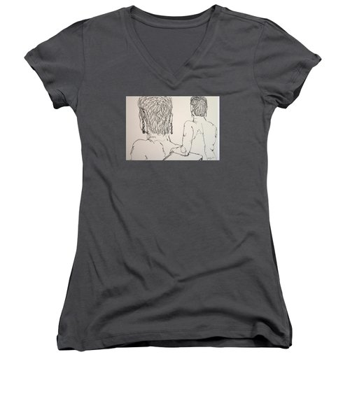 Female Nude Beside Herself Women's V-Neck (Athletic Fit)