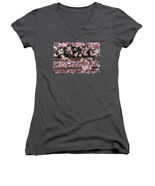 Women's V-Neck T-Shirt (Junior Cut) featuring the photograph Fence Of Flowers by Elizabeth Winter