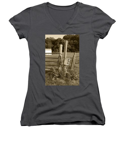 Women's V-Neck T-Shirt (Junior Cut) featuring the photograph Fence Post by Jennifer Ancker