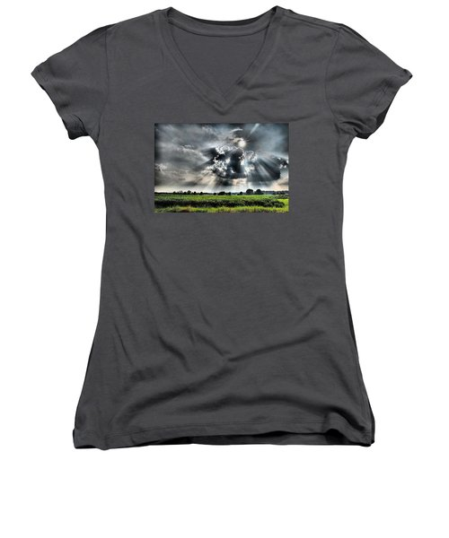 Field Of Beams Women's V-Neck (Athletic Fit)