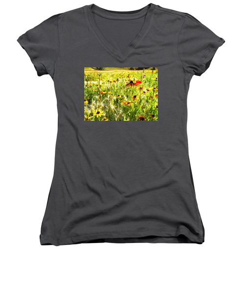 Women's V-Neck T-Shirt (Junior Cut) featuring the digital art Field Of Bright Colorful Wildflowers by Anne Mott