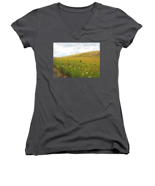 Women's V-Neck T-Shirt (Junior Cut) featuring the photograph Field Of Dandelions by Anne Mott
