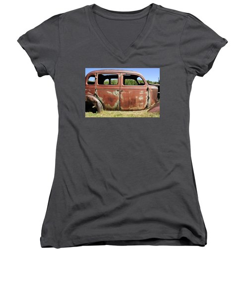 Women's V-Neck T-Shirt (Junior Cut) featuring the photograph Final Destination by Fran Riley
