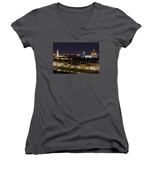 Firenze Skyline At Night - Duomo And Surroundings Women's V-Neck