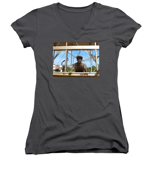 Women's V-Neck T-Shirt (Junior Cut) featuring the sculpture First In Flight  by Lydia Holly