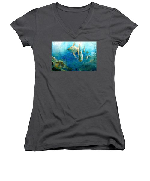 Women's V-Neck featuring the painting Fish by Andrew King