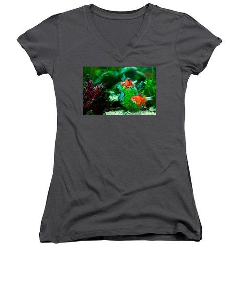Women's V-Neck T-Shirt (Junior Cut) featuring the photograph Fish Tank by Matt Malloy