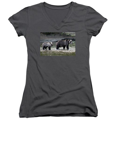 Women's V-Neck T-Shirt (Junior Cut) featuring the photograph Fishing Lessons by Cathie Douglas