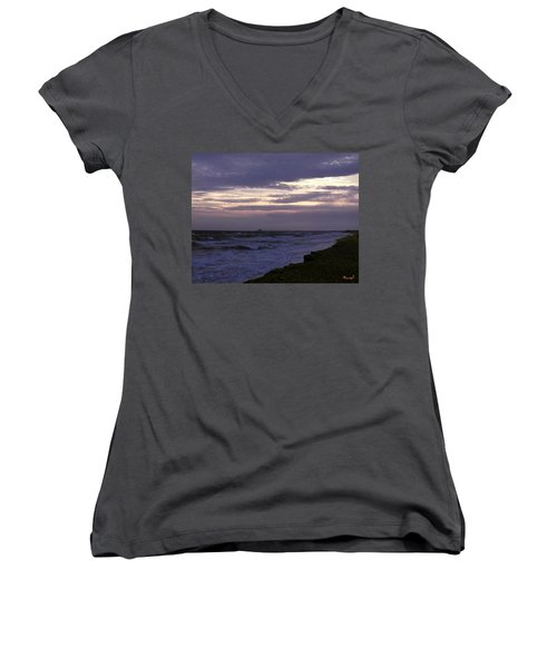 Fishing Pier Before The Storm 14a Women's V-Neck T-Shirt (Junior Cut) by Gerry Gantt