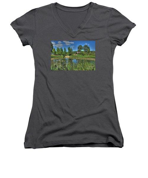 Women's V-Neck T-Shirt (Junior Cut) featuring the photograph Flagstaff by Tam Ryan