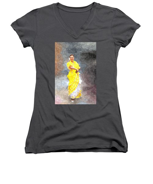 Women's V-Neck T-Shirt (Junior Cut) featuring the photograph Flamenco Dancer In Yellow by Davandra Cribbie