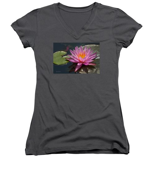 Flaming Waterlily Women's V-Neck T-Shirt
