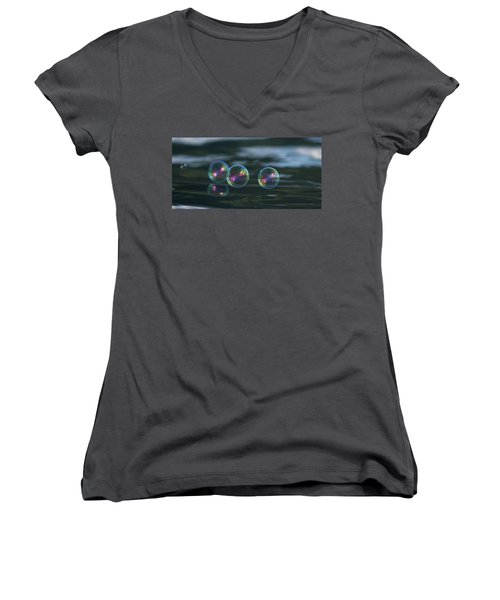 Women's V-Neck T-Shirt (Junior Cut) featuring the photograph Floating Bubbles by Cathie Douglas