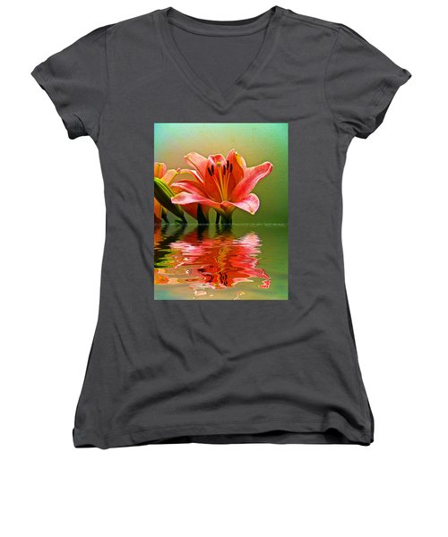 Flooded Lily Women's V-Neck T-Shirt (Junior Cut) by Bill Barber