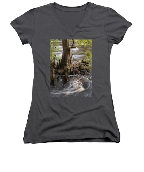 Women's V-Neck T-Shirt (Junior Cut) featuring the photograph Florida Rapids by Steven Sparks