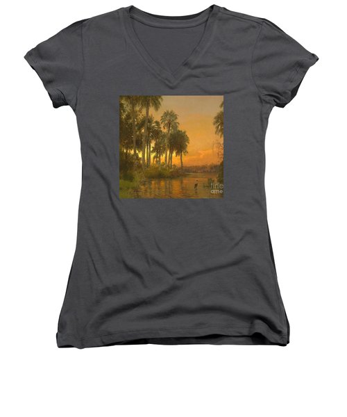 Florida Sunset Women's V-Neck T-Shirt (Junior Cut) by Pg Reproductions
